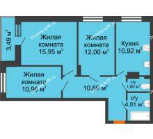 3 комнатная квартира 70 м² в ЖК Виктория, дом № 52 - планировка