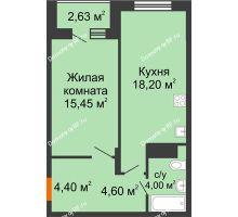 1 комнатная квартира 47,97 м² в Макрорайон Амград, дом №1 - планировка