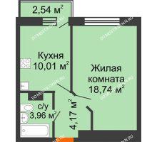 1 комнатная квартира 37,64 м², ЖК Зеленый берег Life - планировка