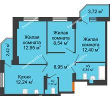 3 комнатная квартира 64,61 м² в ЖК Свобода, дом №2 - планировка