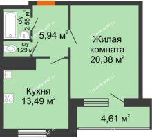 1 комнатная квартира 48,26 м², ЖК Новая Тверская - планировка