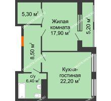 1 комнатная квартира 63,46 м² в ЖК Георгиевский, дом 2а - планировка
