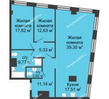 3 комнатная квартира 116,12 м², ЖК Гранд Панорама - планировка
