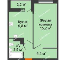 1 комнатная квартира 34,8 м², ЖК Акварели-3 - планировка
