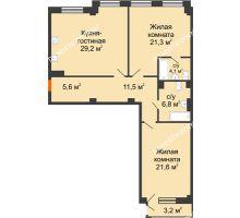 2 комнатная квартира 101,35 м² в ЖК Георгиевский, дом 6 - планировка