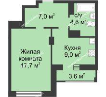 1 комнатная квартира 40,1 м² в ЖК Аквамарин, дом №2 - планировка