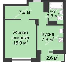 1 комнатная квартира 36,5 м² в ЖК Аквамарин, дом №2 - планировка