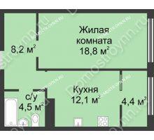 1 комнатная квартира 48 м² в ЖК Славянский квартал, дом № 5а, 7 - планировка