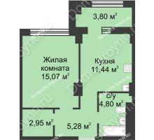1 комнатная квартира 41,44 м² в ЖК Караваиха, дом № 5 - планировка