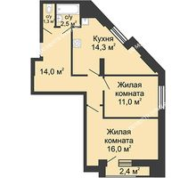 2 комнатная квартира 59,1 м², Жилой дом: ул. Сазанова, д. 15 - планировка