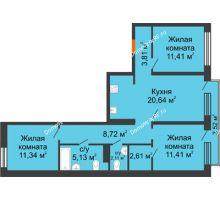 3 комнатная квартира 78,24 м² в Микрорайон Видный, дом ГП-20 - планировка