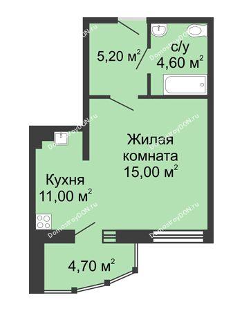 1 комнатная квартира 40,5 м² в ЖК Мега, дом № 2