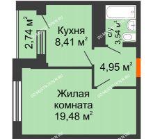 1 комнатная квартира 37,76 м², ЖД Весна - планировка