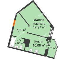 1 комнатная квартира 42,8 м², ЖК Столица - планировка