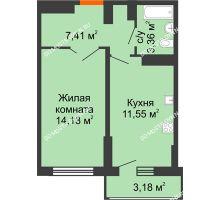 1 комнатная квартира 38,04 м², ЖК Орбита - планировка