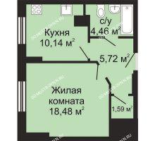 1 комнатная квартира 40,39 м², ЖК Гелиос - планировка