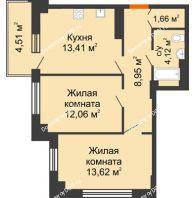 2 комнатная квартира 55,21 м² в ЖК Аврора, дом № 2 - планировка