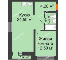 1 комнатная квартира 49,4 м² в ЖК Европейский квартал, дом ГП 3 - планировка