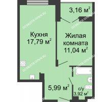 1 комнатная квартира 40,32 м² в ЖК Клевер, дом № 2 - планировка