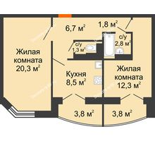 2 комнатная квартира 58,3 м², ЖД по ул.Б.Хмельницкого,25 - планировка