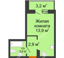 Студия 22,2 м² в ЖК Самолет 2, дом Литер 3 - планировка