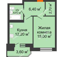 1 комнатная квартира 44,5 м² в ЖК Звездный-2, дом № 3 - планировка