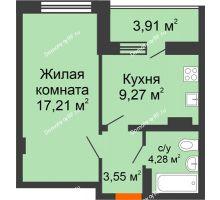 1 комнатная квартира 38,22 м², ЖК Галактика - планировка