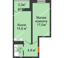 1 комнатная квартира 42,1 м² в ЖК Звезда Столицы, дом Литер 4 - планировка